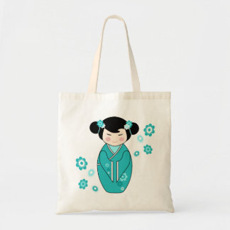 Kokeshi Style Doll Illustration in Blues Canvas Bags