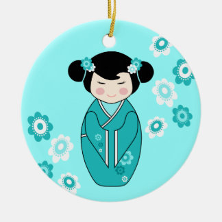 Kokeshi Style Doll Illustration in Blues Ceramic Ornament