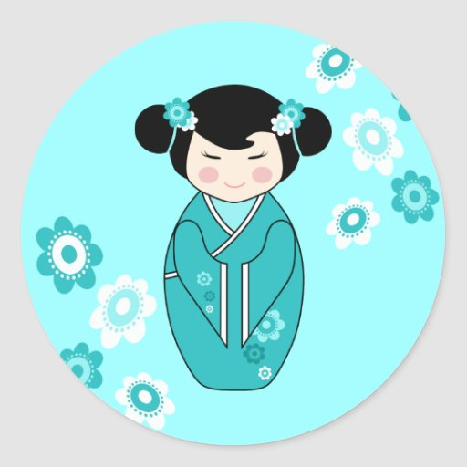 Kokeshi Style Doll Illustration in Blues Classic Round Sticker