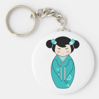 Kokeshi Style Doll Illustration in Blues Keychain