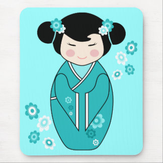 Kokeshi Style Doll Illustration in Blues Mouse Pad