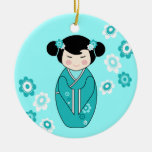 Kokeshi Style Doll Illustration in Blues Double-Sided Ceramic Round Christmas Ornament