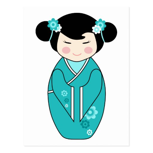 Kokeshi Style Doll Illustration in Blues Postcards