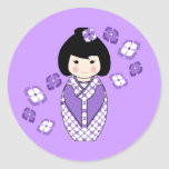 Kokeshi Style Doll Illustration with Floral Kimono Classic Round Sticker