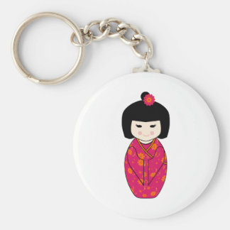 Kokeshi Style Doll Illustration with Floral Kimono Keychain