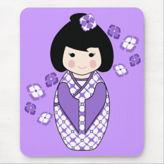 Kokeshi Style Doll Illustration with Floral Kimono Mouse Pad