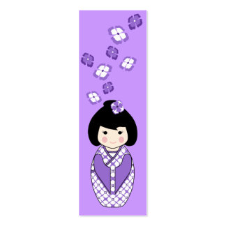 Kokeshi Style Doll Mini Bookmark in Purples Double-Sided Mini Business Cards (Pack Of 20)