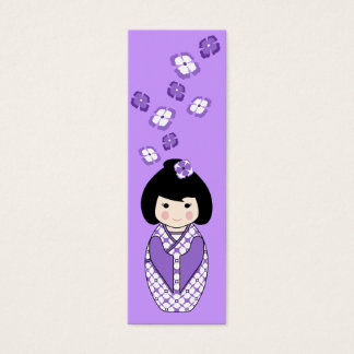 Kokeshi Style Doll Mini Bookmark in Purples Mini Business Card