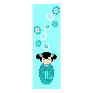 Kokeshi Style Doll Mini Bookmarks in Blues Double-Sided Mini Business Cards (Pack Of 20)