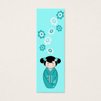 Kokeshi Style Doll Mini Bookmarks in Blues Mini Business Card