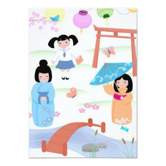 "Kokeshi Style Girls Cards Invitations 4.5""x6.25"""