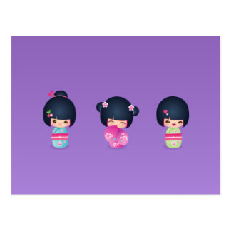 kokeshi Three Postcard