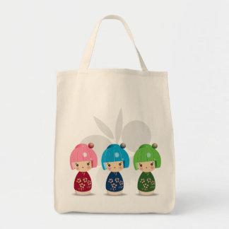 Kokeshi Triplets Grocery Tote Bag