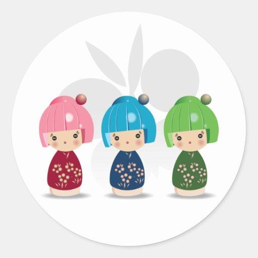 Kokeshi Triplets Sticker