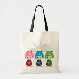 Kokeshi Triplets Tote Tote Bags