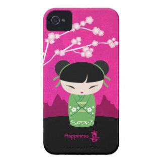 Kokeshi verde - felicidad iPhone 4 Case-Mate protector