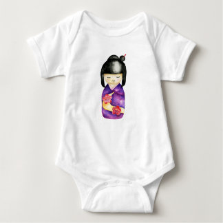 Kokeshi Watercolor Painting Baby Bodysuit