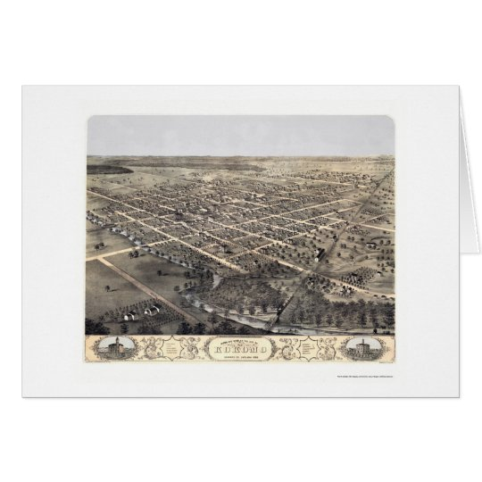 Kokomo, IN Panoramic Map - 1868 Card