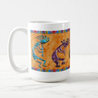 Kokopelli 3D Anasazi Native American Motif Classic White Coffee Mug