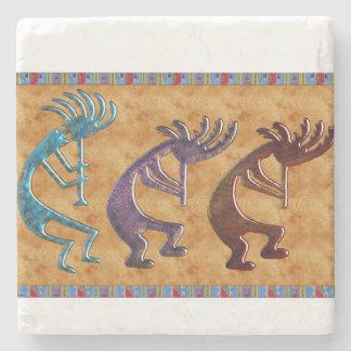 Kokopelli 3D Anasazi Native American Motif Stone Beverage Coaster