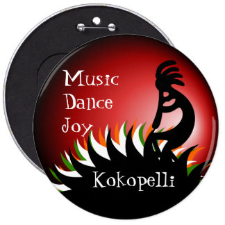 Kokopelli 6 Inch Round Button