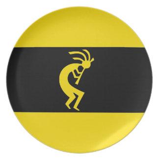 Kokopelli amarillea de largo plato de comida