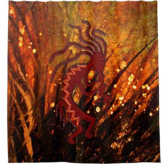 Kokopelli and Fireflys Southwestern Shower Curtain
