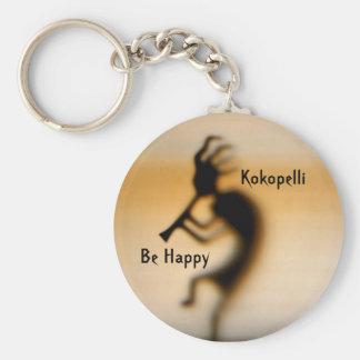 Kokopelli Be Happy Inspirational Keychain