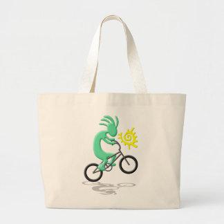 Kokopelli Bicycle Large Tote Bag