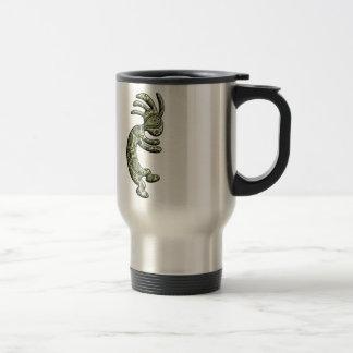 Kokopelli Black Green Paisley Theme Travel Mug