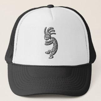 Kokopelli Black White Paisley Theme Trucker Hat