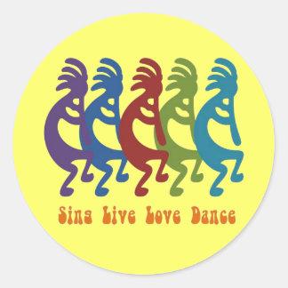 Kokopelli - cante la danza viva del amor pegatina redonda
