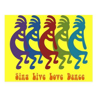 Kokopelli - cante la danza viva del amor tarjeta postal