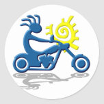 Kokopelli Chopper Round Stickers