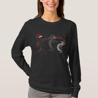 Kokopelli Christmas Ladies LS  Black T-shirt