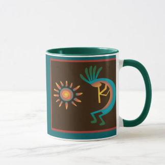 Kokopelli con de Sun las tazas de café hacia el