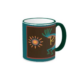 Kokopelli con de Sun las tazas de café hacia el su