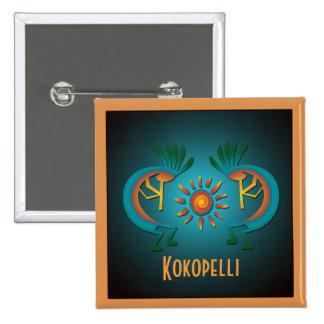 Kokopelli con el botón del personalizado de Sun Pin Cuadrado