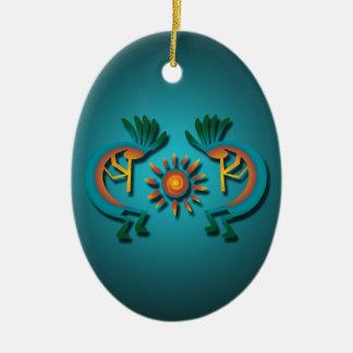 Kokopelli con el ornamento de encargo del navidad adorno navideño ovalado de cerámica