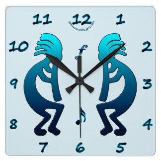Kokopelli con el reloj de pared cuadrado de las no