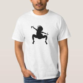 Kokopelli de baile negro divertido playera