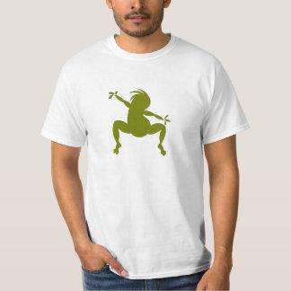 Kokopelli de baile verde divertido playera