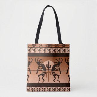 Kokopelli Desert Sun Cactus Southwest Pattern Tote Bag