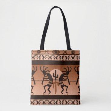 Aztec Themed Kokopelli Desert Sun Cactus Southwest Pattern Tote Bag
