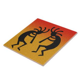Kokopelli Desert Sunset Southwest Ceramic Tile