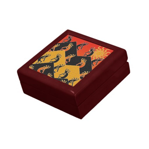 Kokopelli Desert Sunset Tribal  Southwest Jewelry Box