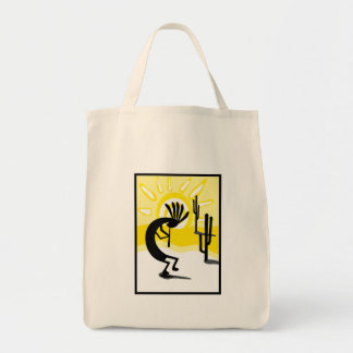 Kokopelli Desert Two Cactus Tote Bag Bags
