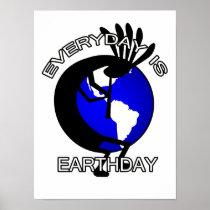 Kokopelli Earthday Button Poster