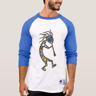 Kokopelli emoji-art in nature icons, & paw prints T-Shirt
