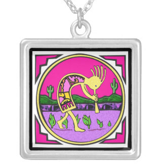 Kokopelli, Flute Player of the Desert Silver Plated Necklace